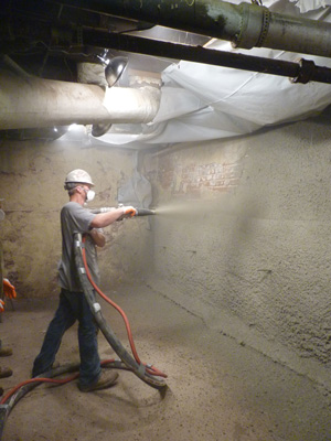 Shotcrete wall restoration services in Winnipeg