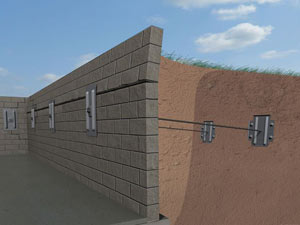 A graphic illustration of a foundation wall system installed in Schanzenfeld